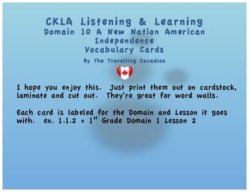 CKLA 1st Grade Vocabulary Cards Domain 10