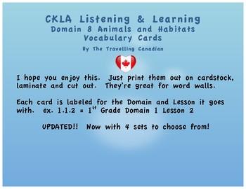 CKLA 1st Grade Vocabulary Cards Domain 8
