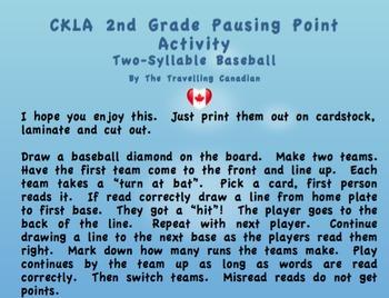 CKLA 2nd Grade Two-Syllable Baseball