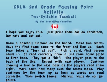 CKLA 2nd Grade Two-Syllable Baseball