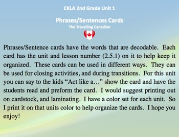 CKLA 2nd Grade Unit 1 Phrases/Sentence Cards