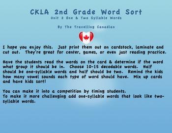 CKLA 2nd Grade Unit 2 Syllable Word Sorts