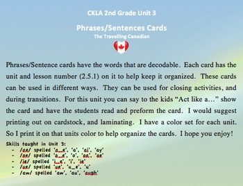 CKLA 2nd Grade Unit 3 Phrases/Sentence Cards