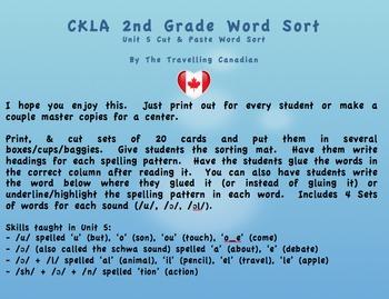 CKLA 2nd Grade Unit 5 Cut & Paste Word Sorts