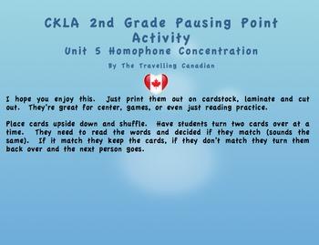 CKLA 2nd Grade Unit 5 Homophone Concentration