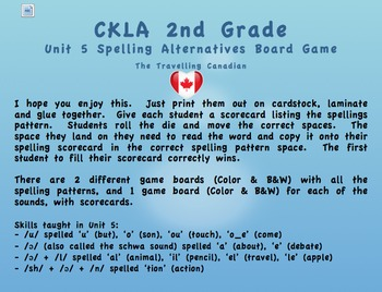 CKLA 2nd Grade Unit 5 Spelling Alternative Game Boards