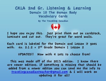 CKLA 2nd Grade Vocabulary Cards Domain 10