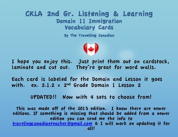 CKLA 2nd Grade Vocabulary Cards Domain 11