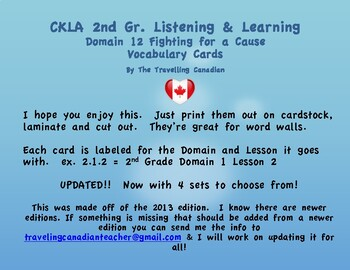 CKLA 2nd Grade Vocabulary Cards Domain 12