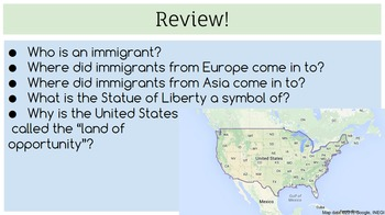 CKLA 2nd grade immigration (lessons 1-5)
