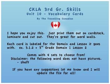 CKLA 3rd Grade SKILLS Vocabulary Cards Unit 10
