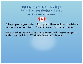 CKLA 3rd Grade SKILLS Vocabulary Cards Unit 5