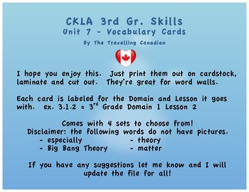 CKLA 3rd Grade SKILLS Vocabulary Cards Unit 7