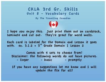 CKLA 3rd Grade SKILLS Vocabulary Cards Unit 8