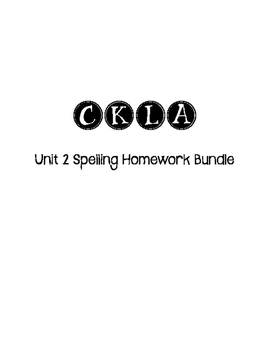 CKLA 3rd Grade Unit 2 Spelling Homework Bundle