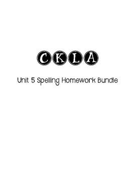 CKLA 3rd Grade Unit 5 Spelling Homework Bundle