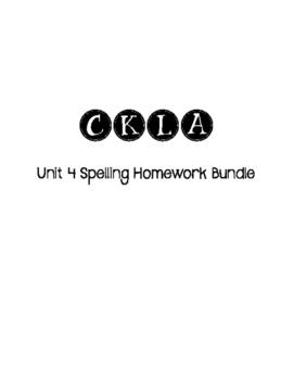 CKLA 3rd Grade Unit 4 Spelling Homework Bundle