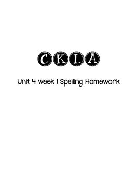 CKLA 3rd Grade Unit 4 Week 1 Spelling Homework