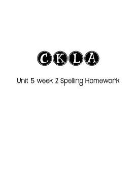 CKLA 3rd Grade Unit 5 Week 2 Spelling Homework