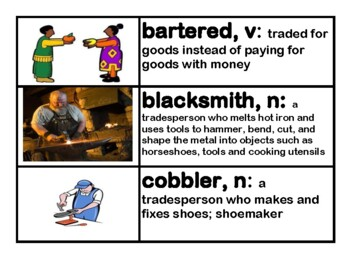 CKLA Core Knowledge Kindergarten Domain 10 Colonial Towns Vocabulary Cards