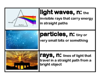 CKLA Core Knowledge Light and Sound Vocabulary Cards Domain 5 Grade 3