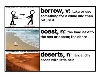 CKLA Core Knowledge Kindergarten Domain 6 Native Americans Vocabulary Cards