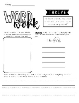 CKLA Cycles of Nature Word Work Packet