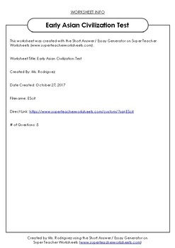 CKLA DOMAIN 2 EARLY ASIAN CIVILIZATION SHORT RESPONSES
