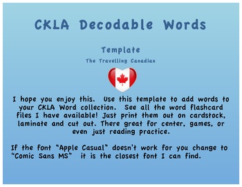 CKLA Decodable Word Template