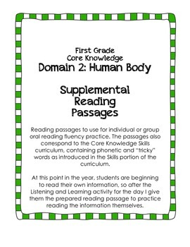 CKLA Domain 2: The Human Body {First Grade}