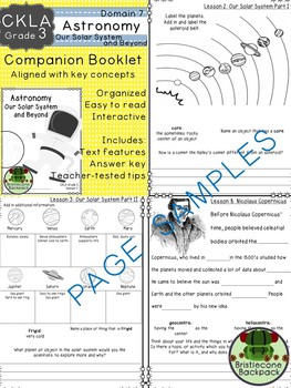 CKLA  Domain 7 Third Grade Astronomy: Solar System and Beyond Companion Booklet