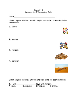 CKLA Domain 4 Lessons 1-4 Vocabulary Quiz