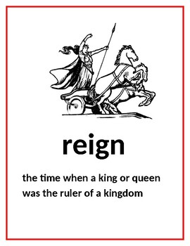 CKLA Domain 7 Kindergarten Kings and Queens Vocabulary Cards