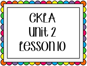 CKLA / EngageNY Unit 2 Lesson 10 Flipchart