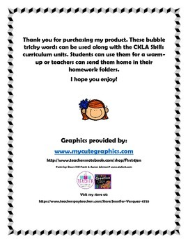 CKLA First Grade Bubble Tricky Words Part 2