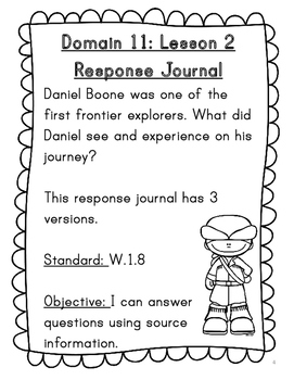 CKLA Grade 1 Domain 11 Reading Response Journal