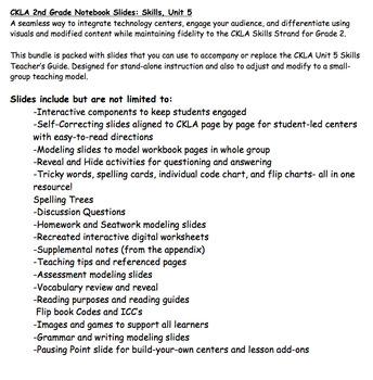 CKLA Grade 2 Skills- Individual Unit 5 Smartboard/Interactive Whiteboard Slides