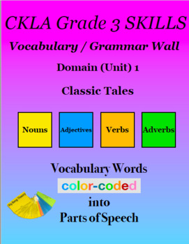 CKLA Grade 3 SKILLS Vocabulary Grammar Wall Unit 1 Classic Tales