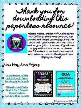 CKLA Grade 3 Unit 1: Classic Tales Ch. 4 Google Form