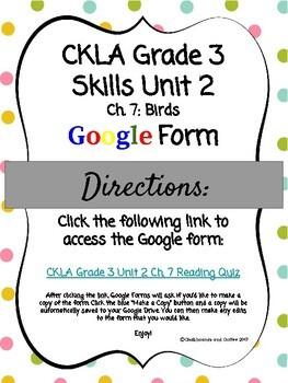 CKLA Grade 3 Skills Unit 2 Ch. 7 Google Form