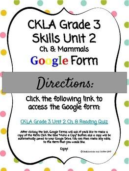 CKLA Grade 3 Skills Unit 2 Ch. 8 Google Form