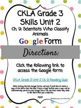 CKLA Grade 3 Skills Unit 2 Ch. 9 Google Form