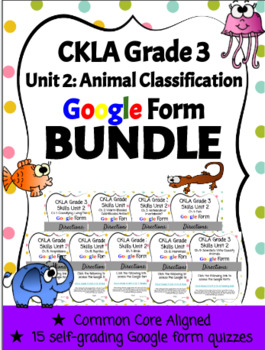 CKLA Grade 3 Skills Unit 2 Google Form Reading Quiz BUNDLE