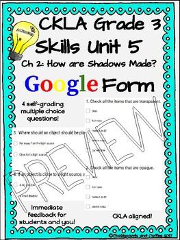 CKLA Grade 3 Skills Unit 5 Light and Sound Google Form Quiz BUNDLE