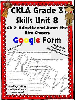 CKLA Grade 3 Skills Unit 8 Native Americans Google Form Quiz BUNDLE