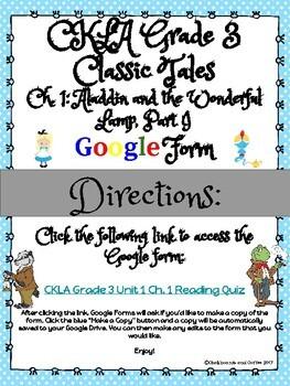 CKLA Grade 3 Unit 1: Classic Tales Ch. 1 Google Form
