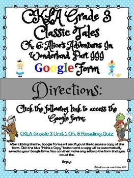 CKLA Grade 3 Unit 1: Classic Tales Ch. 6 Google Form