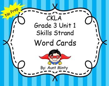CKLA Grade 3 Unit 1 Word Cards, Skills Strand NO PREP