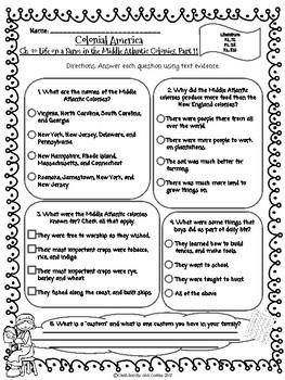 CKLA Grade 3 Unit 10 Ch. 10 Colonial America Reading Quiz