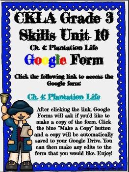 CKLA Grade 3 Unit 10: Colonial America Ch. 4 Google Form